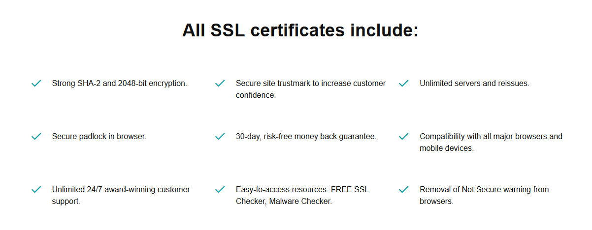 GoDaddy SSL Features