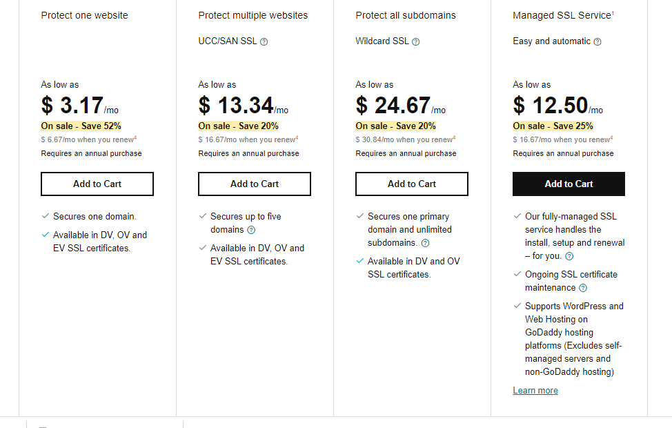 GoDaddy SSL Pricing