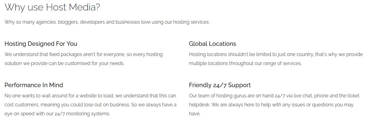 Features Of HostMedia